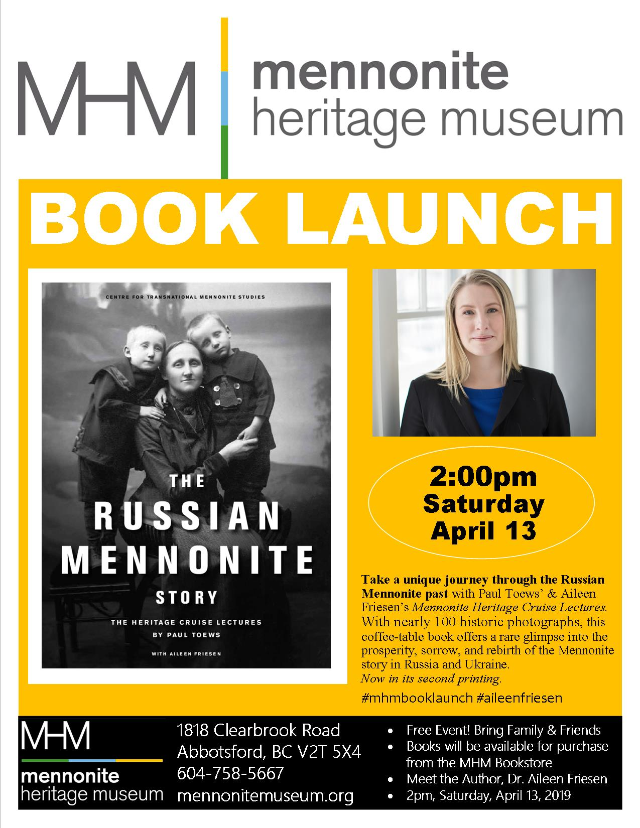 2019 04 13 MHM Book Launch Dr Aileen Friesen The Russian Mennonite Story 1