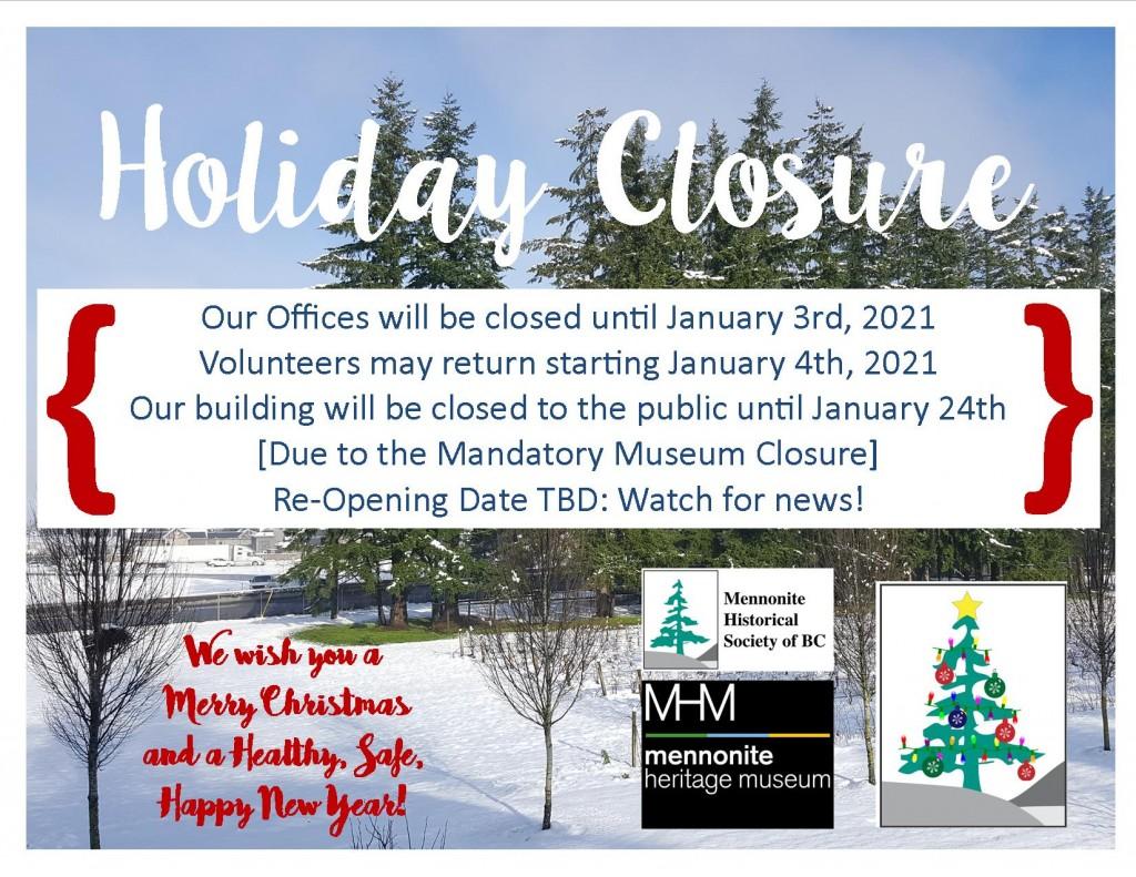 2020 12 23 Holiday Closures