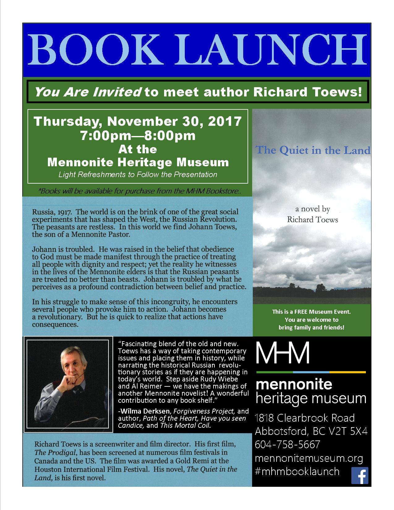 Book Launch Richard Toews Poster