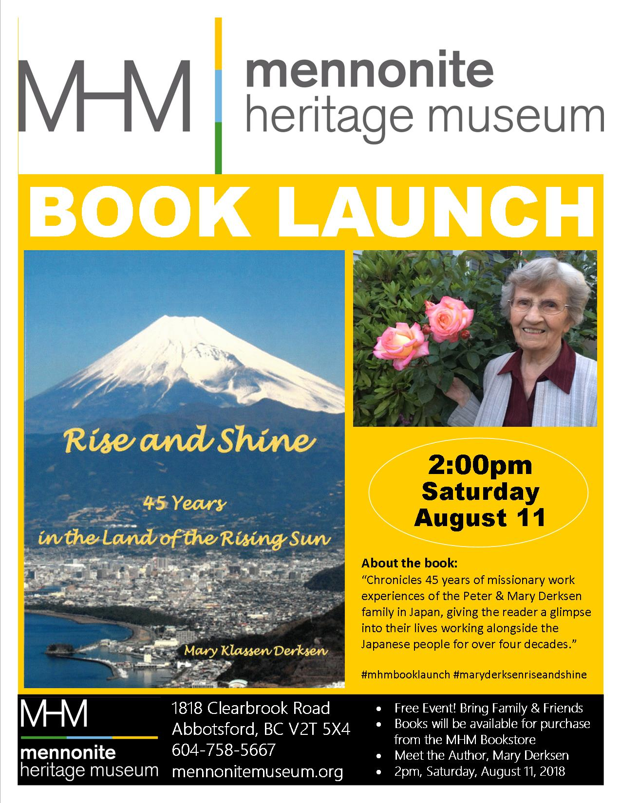 2018 05 02 MHM Book Launch Mary Derksen Rise and Shine