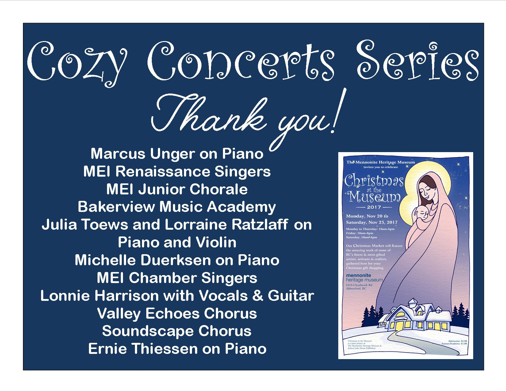 Cozy Concert Series THANK YOU List of Performers