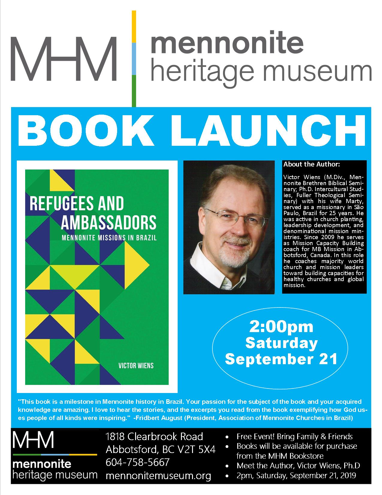 2019 09 21 MHM Book Launch Victor Wiens PhD Poster