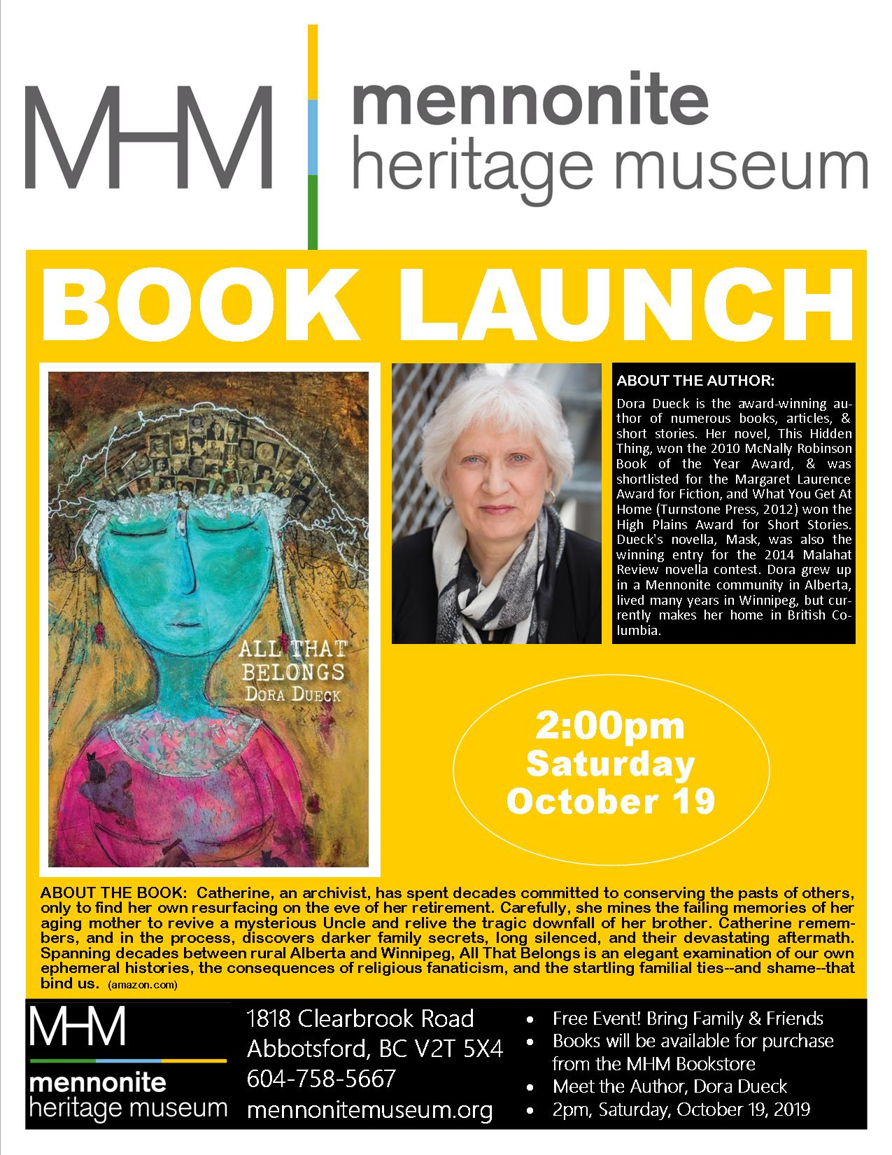2019 10 19 MHM Book Launch Dora Dueck Poster Updated