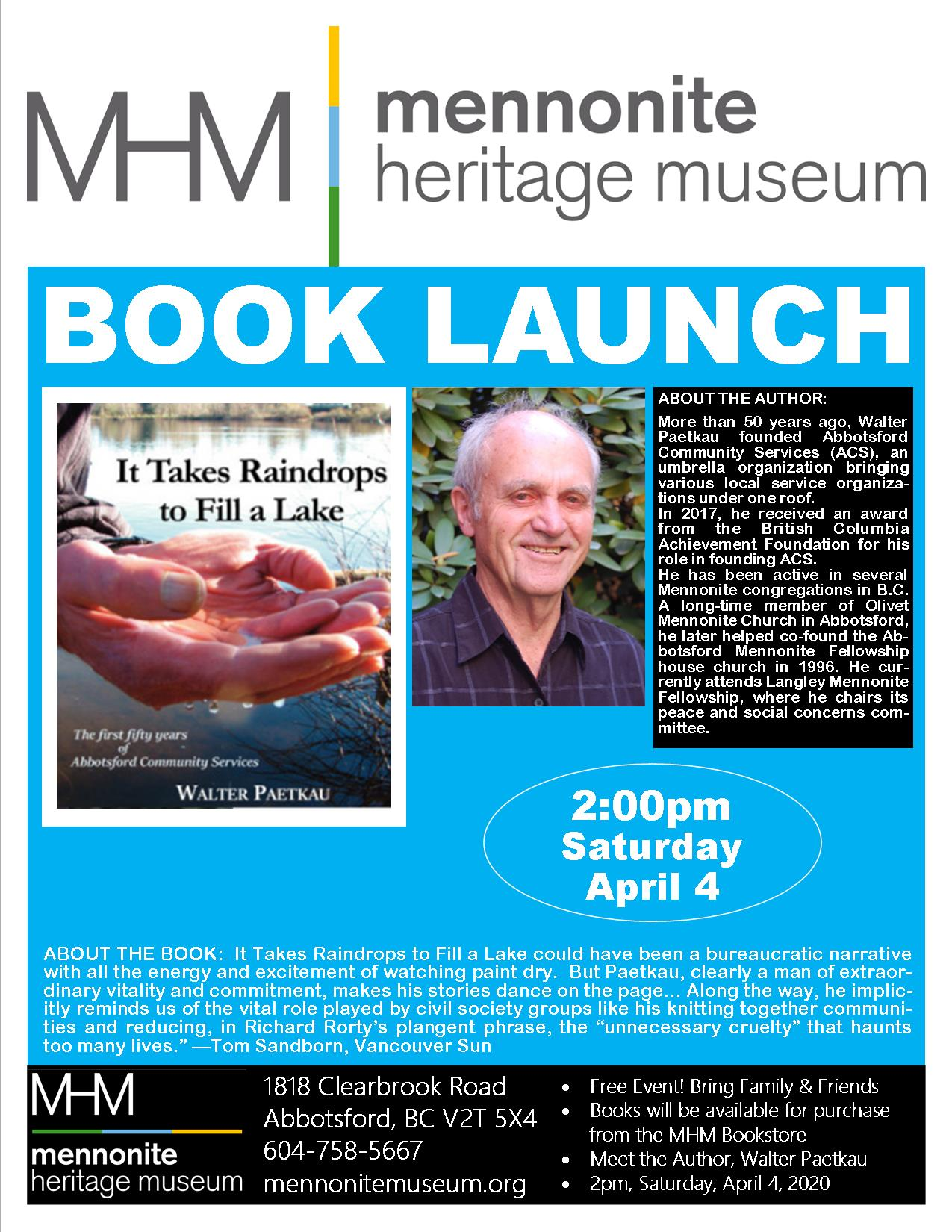 2020 04 04 MHM Book Launch Walter Paetkau Poster