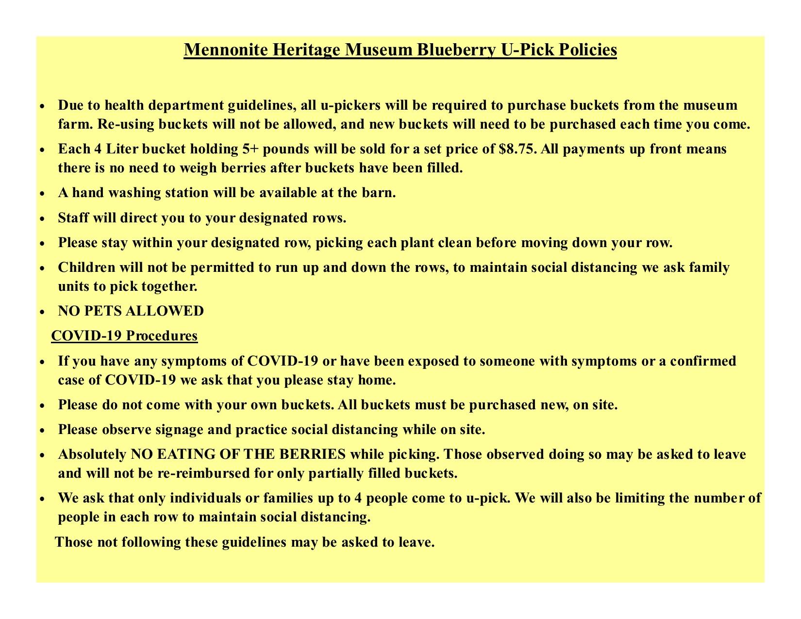 u-pick blueberry policies 2020