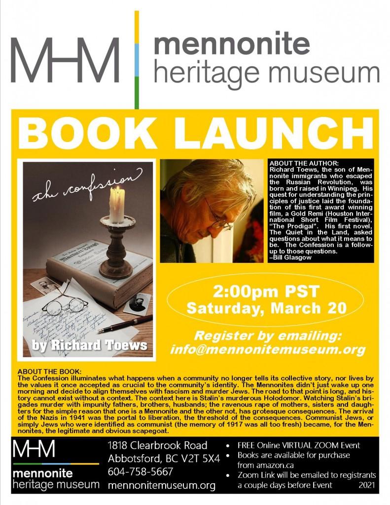 2021 03 20 Final Proof MHM Book Launch The Confession Richard Toews Poster Portrait