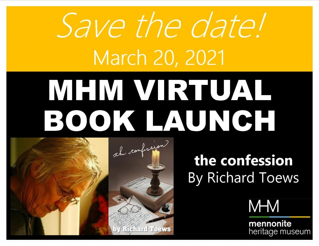 2021 03 20 MHM Book Launch SAVE THE DATE The Confession Richard Toews Poster Landscape